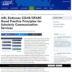 Endorses COAR/SPARC Good Practice Principles for Scholarly Communication Services - Association of Research Libraries