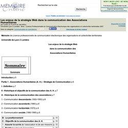 Les enjeux de la strategie Web dans la communication des Associations Humanitaires - Cyrille LE FLOCH et Joel MOLL