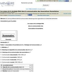 Les enjeux de la stratégie Web dans la communication des Associations Humanitaires - Cyrille LE FLOCH et Joel MOLL
