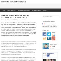 Internal communication and the available brain time syndrom