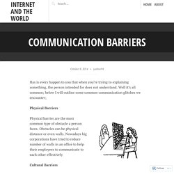 Communication Barriers – Internet and The World