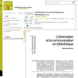 L'information et la communication en bibliothèque