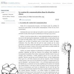 Le contrat de communication dans la situation classe - Patrick Charaudeau