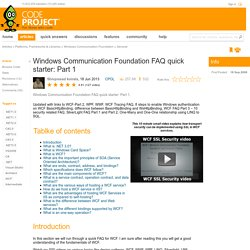 Windows Communication Foundation FAQ quick starter Part 1