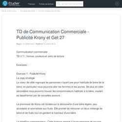 TD de Communication Commerciale - Publicité Krony et Get 27 - Rapport de Stage - 2286 Mots