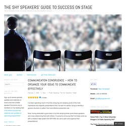 Communication Congruence – How to Organize Your Ideas to Communicate Effectively « The Shy Speakers' Guide to Success on Stage