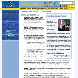Tips for Success - Communication Studies - Spokane Community College CMST OCL2