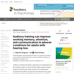 Auditory training can improve working memory, attention, and communication in adverse conditions for adults with hearing loss