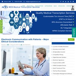 Electronic Communication with Patients - Major Ethical Considerations