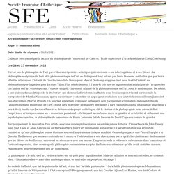 Appel à communication, Colloque «Art-philosophie – accords et désaccords contemporains», Caen/Cherbourg, 24-25 novembre 2021 « Société Française d'Esthétique