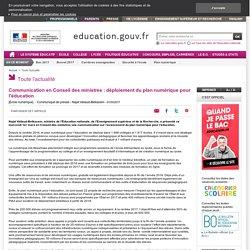 Communication en Conseil des ministres : déploiement du plan numérique pour l'éducation