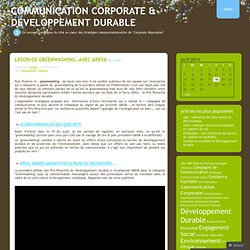 Greenwashing « Communication Corporate & Développement Durable