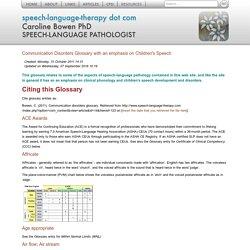Communication Disorders Glossary