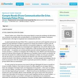 Compte Rendu D'une Communication De Crise. Exemple Fisher Price. - Dissertation - MBC84