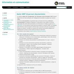 Information et communication » Master MEEF 2d parcours documentation