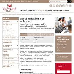 Master Sciences humaines et sociales - Mention : information et communication - Spécialité : esDOC (Documentation)