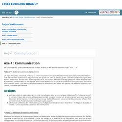 Axe 4 : Communication - Axe 4 : Communication - LYCÉE EDOUARD BRANLY