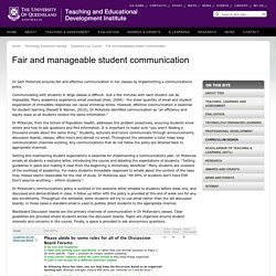 Fair and manageable student communication - Teaching and Educational Development Institute - The University of Queensland, Australia