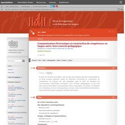 Communication électronique et construction de compétences en langue autre, hors contexte pédagogique