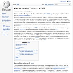 Communication Theory as a Field