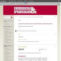 La communication des nouvelles éthiques de l'entreprise