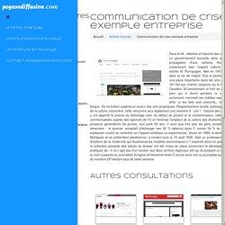 Communication de crise exemple entreprise
