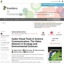 Audio-Visual Tools in Science Communication: The Video Abstract in Ecology and Environmental Sciences