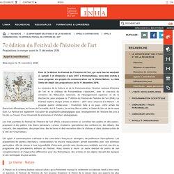 Appel à communication : 7e édition du Festival de l'histoire de l'art