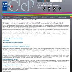 Stratégies de communication des universités francophones sur le Web 2.0