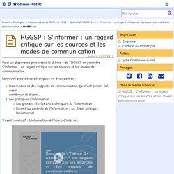 HGGSP : S'informer : un regard critique sur les sources et les modes de communication - Odyssée : Histoire Géographie EMC