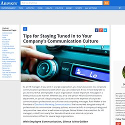 Tips for Staying Tuned in to Your Company's Communication Culture - HumanResources.Answers.com