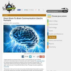 Direct Brain-To-Brain Communication Used in Humans