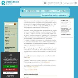 Études de communication - langages, information, médiations