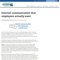 Internal communication tips - Advanced Learning Institute