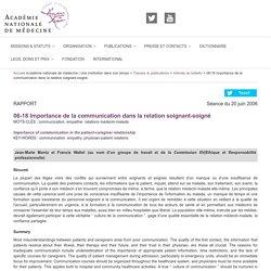 Importance de la communication dans la relation soignant-soigné – Académie nationale de médecine