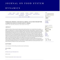 JOURNAL OF FOOD SYSTEM DYNAMICS - 2015 - Web Data Mining and Social Media Analysis for better Communication in Food Safety Crises