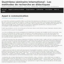 Appel à communication - Quatrième séminaire international - Les méthodes de recherche en didactiques