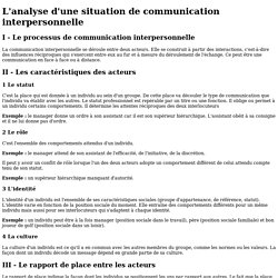 L'analyse d'une situation de communication interpersonnelle