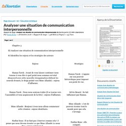 Analyser une situation de communication interpersonnelle - Rapport de stage - Fanta Keita