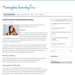 Communication and Listening exercises