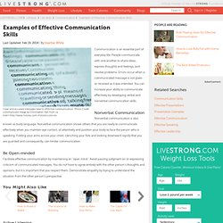 Examples Of Effective Communication Skills