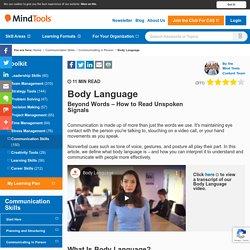 Body Language - Communication Skills Training From MindTools.com