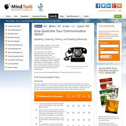 How Good are Your Communication Skills? - Communication Skills Training from MindTools