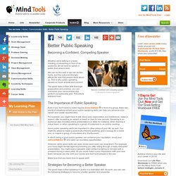 Better Public Speaking - Communication Skills From MindTools.com