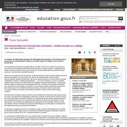 Communication en Conseil des ministres : mixité sociale au collège