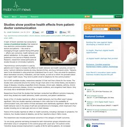 Studies show positive health effects from patient-doctor communication