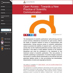 Open Access : Towards a New Practice of Scientific Communication
