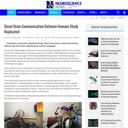 Direct Brain Communication Between Humans Study Replicated