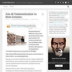 AXE DE COMMUNICATION vs PISTE CREATIVE : définitions, exemples, différences