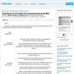 Expliquez la stratégie de communication de BIC - Étude de cas - noemiechaverot